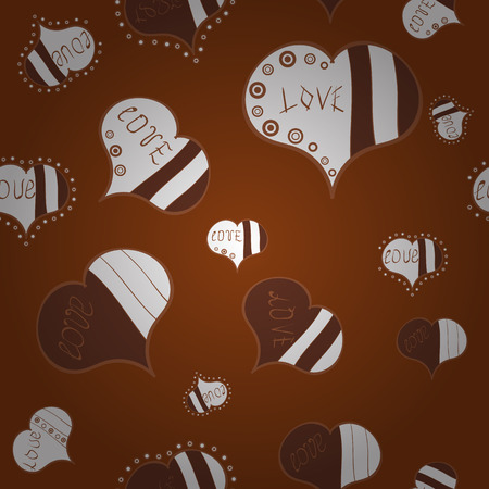 Vector illustration. Valentine':s Day seamless with brown, white and neutral hearts on background.
