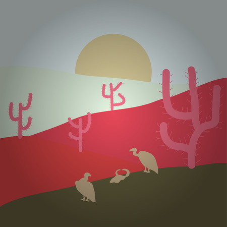 Sands. Vector illustration. Neutral, pink and brown colors background with cactus. Desert.