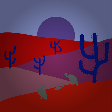 Desert Landscape with Cactus and Mountains in the Background. Illustration on red, neutral and purple colors. Vector illustration. Flat Design Style.