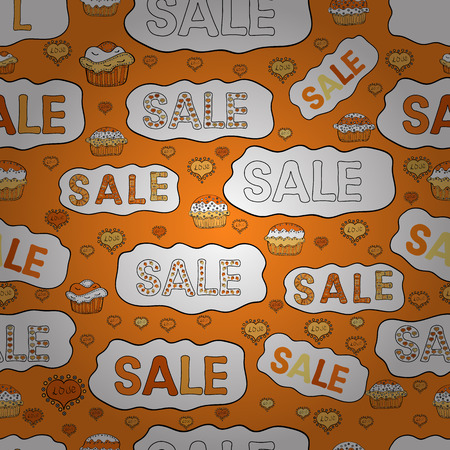 Illustration on orange, white and black colors. Weekend Sale Banner Template. Seamless. Vector illustration. Lettering.