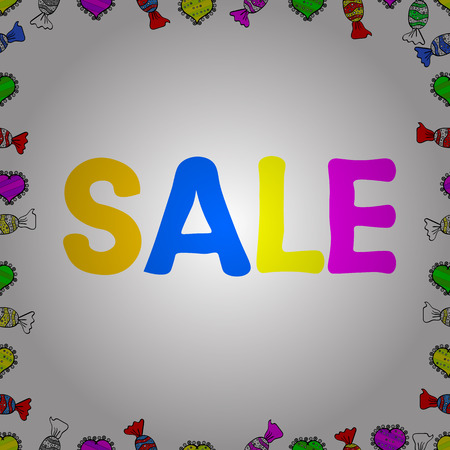 Sale banner template design, Big sale special offer. End of season special offer banner. Vector illustration. Seamless. Picture in white, yellow and magenta colors.