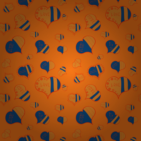 Sketch heart elements on orange, blue and brown colors. Love repeated backdrop for girl, textile, clothes. Seamless love pattern. Valentine':s day. Wrapping paper. Vector illustration.