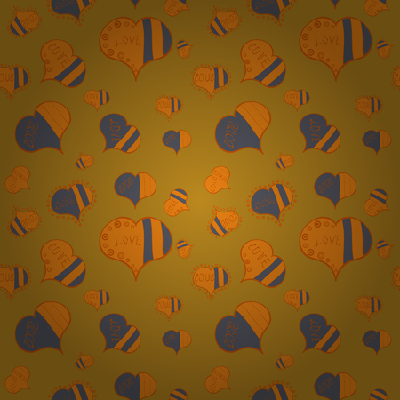 Seamless Love pattern with hand drawn doodle hearts. Valentines Day design. Elements on yellow, orange and gray colors.