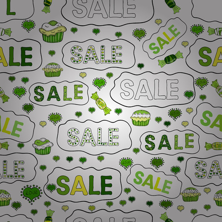 Original poster for discount. Best sale banner. Vector. Seamless pattern. Bright abstract background with text. Lettering.