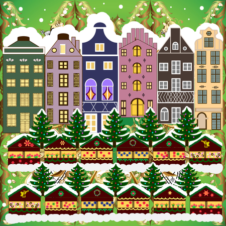Concept for greeting or postal card. Christmas tree and snowman. Vector illustration. A house in a snowy Christmas landscape at night. Banque d'images - 109317368