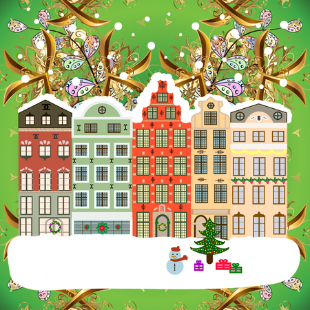Evening city winter landscape with snow cove green and white houses and christmas tree. Holidays Vector illustration.