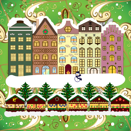 Vector illustration. Classic European houses landscape with Christmas holiday decorations. Winter day in cosy town street scene. Buildings and facades. Vector illustration. Snowfall on Christmas eve.