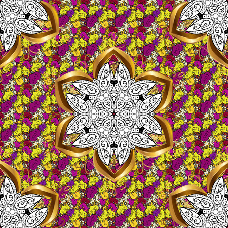 Vector illustration. Yellow, black and white colors. Colored mandalas element.