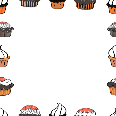 Illustration in white, orange and gray colors. Vector illustration. Doodles elements hand drawn frames. Seamless.