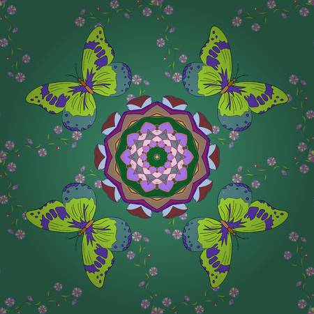 Vector round mandala in childish style. Ornamental doodle green, blue and violet colors. Vector nature seamless pattern with abstract ornament. 일러스트