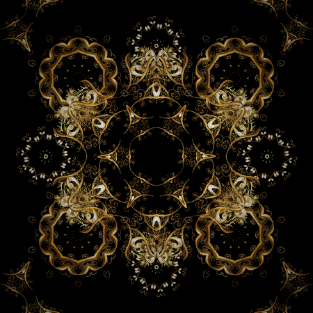 Pattern with golden elements. Seamless element woodcarving. Furniture in classic style. Black, brown and yellow backdrop with gold trim. Luxury furniture. Small depth of field.  イラスト・ベクター素材