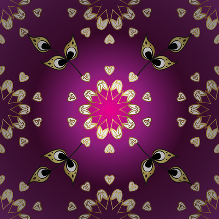 Vector illustration. Oriental vector classic purple, white and yellow and golden pattern. Ornamental abstract background.