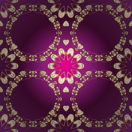 Vector traditional classic golden ornamental pattern on purple, white and brown colors. Ornamental oriental ornament in the style of baroque.