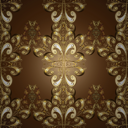 Floral ornament brocade textile pattern, glass, metal with floral pattern on brown, beige and neutral colors with golden elements. Classic vector golden ornamental pattern.
