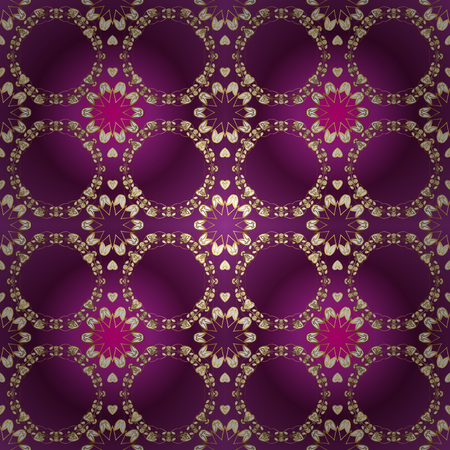 Good for greeting card for birthday, invitation or banner. Vector illustration. Ornamental medieval floral royal pattern. Decorative symmetry arabesque. Gold on purple, yellow and brown colors. Foto de archivo - 109439649