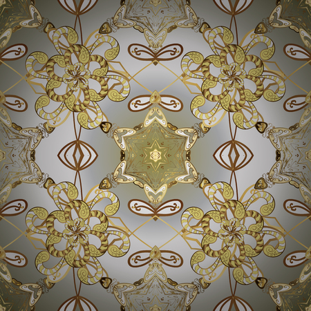 Eastern style element. Vector illustration for invitations, cards, web page. Line art ornamental border for design template. Golden element on gray, neutral, white colors. Golden outline floral decor. Illustration