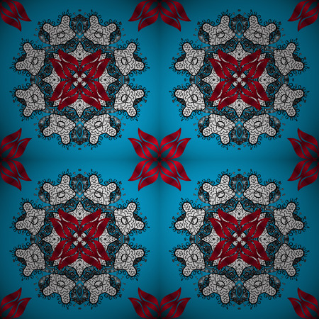 Geometric circle vector element. Kaleidoscope, medallion, yoga, india, arabic. Tribal, Boho, Bohemian style. Ornament blue, white and red colored card with mandala.