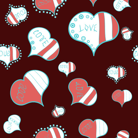 Love background. Background of big and small hearts with swirls in brown, white and pink colors. Vector illustration. Seamless Love pattern.