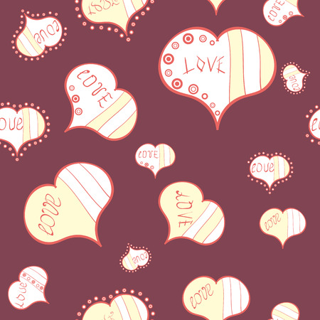 Sketch heart elements on purple, white and beige colors. Valentine':s day. Baby background with colorful hearts. Flat background for design. Wrapping paper. Vector sketch. Hearts seamless pattern.