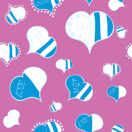 Valentines day hearts. Vector illustration. Texture background texture. Pink, white and blue.