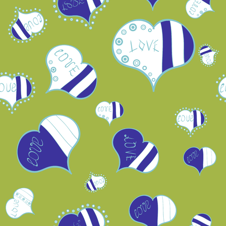 Sketch heart elements on green, blue and white colors. Valentine:s day. Vector illustration. Wrapping paper. Seamless love pattern. Love repeated backdrop for girl, textile, clothes.