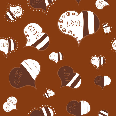Love card. Love and unusual designs. Vector illustration. Our love is happy. Seamless pattern colorful summer style label illustration with nice elements.