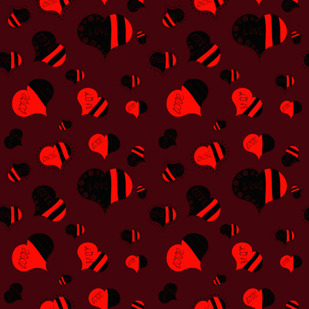 Love design with different elements. Vector illustration. Seamless Interesting typography. Valentines day background on brown, black and red colors.