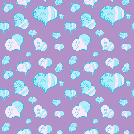 Romantic background on neutral and blue colors. Vector illustration. Seamless Calligraphic text and special trendy love heart design for Happy Valentine:s day vintage, card, poster background.