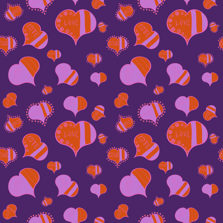 Happy Valentine:s Day. Perfect design element for wallpaper, textile, wedding. Seamless pattern Beautiful handdrawn seamless with hearts. Vector. Violet, orange and pink. Festive love background.