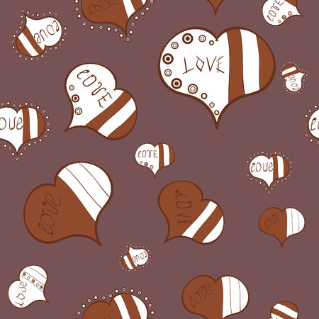 Purple, brown and white watercolor heart pattern. Vector illustration. Seamless pattern watercolor hearts seamless background. Colorful watercolor romantic texture.
