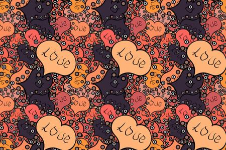 Heart pattern. Seamless Geek valentine':s day hearts background. Valentine':s with black, orange and beige elements. Raster illustration.