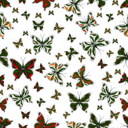 Collection of colorful butterflies, flying in different directions. Abstract seamless pattern for girls, boys, clothes, wallpaper. Vector illustration.