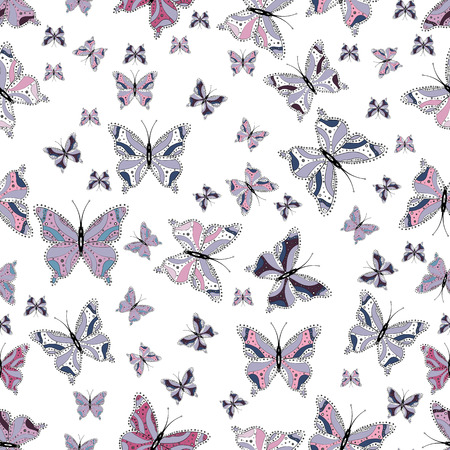 Vector illustration. Beautiful butterflies flying in the floral jungle design for book pages. Seamless colorfil pattern. Pictures in white, neutral and gray colors. Fantasy nice illustration.