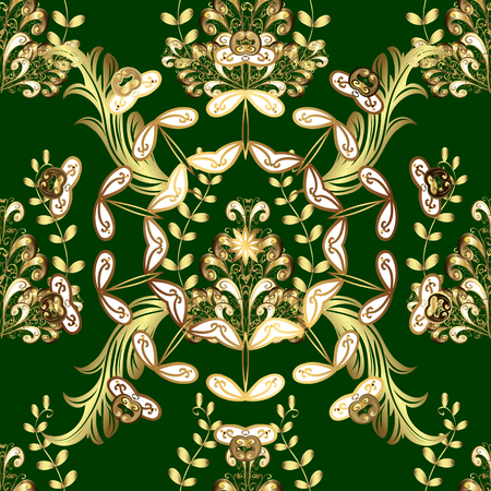 Vector traditional classic golden seamless pattern on green colors. Seamless oriental ornament in the style of baroque.