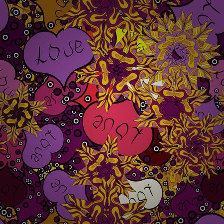 Baby background with colorful hearts. Sketch heart elements on purple, violet and yellow colors. Hearts seamless pattern. Valentine:s day. Vector sketch. Flat background for design. Wrapping paper.