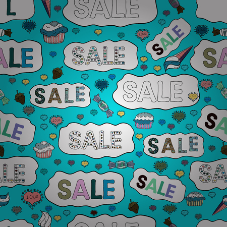 Summer sale banner design, special offer for online shopping. Seamless pattern. Lettering. Picture in blue, white and black colors. Vector illustration. Vectores