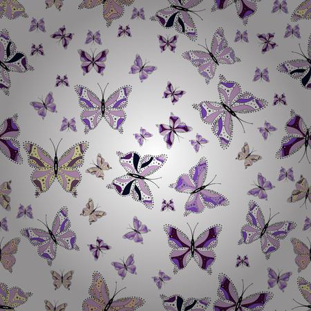 Convient pour l'emballage, le papier, le tissu. Papillons colorés sur fond blanc, neutre et noir. Modèle sans couture de vecteur folk coloré avec des papillons. Vecteurs