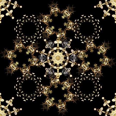 Vintage seamless pattern on a black, brown and beige colors with golden elements. Christmas 2019, snowflake, new year.
