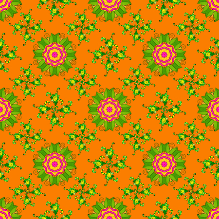 A pattern of orange, green and yellow daisies on a orange, green and yellow colors. Vector illustration. On orange, green and yellow colors.