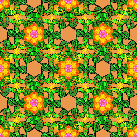 Flower seamless on orange, green and black colors. Vector illustration. Flowers on orange, green and black colors. Flourish ornamental spring garden texture. Floral pattern.