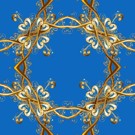 Ornamental lace tracery. Vintage design element in Eastern style. Golden ornate illustration for wallpaper. Traditional arabic decor on blue, beige colors. Vector seamless pattern with floral ornament