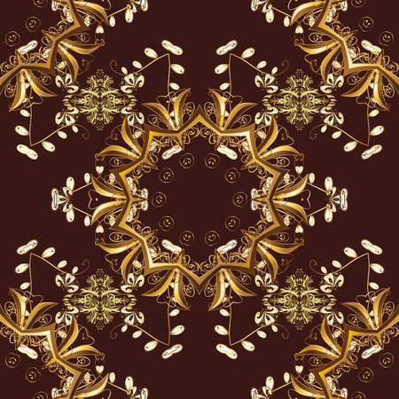 Vector vintage baroque floral seamless pattern in gold. Golden pattern on a brown, beige and yellow colors with golden elements. Ornate decoration. Luxury, royal and Victorian concept.