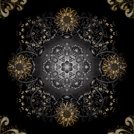 Golden element on black, gray and brown colors. Ornate vector decoration. Vintage baroque floral seamless pattern in gold over black, gray and brown. Luxury, royal and Victorian concept.