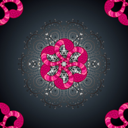 For textile, invitations, banners and other. Vector illustration. Colored round floral mandala on a gray, blue and magenta colors.