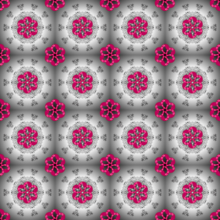 Colored mandala logo on gray, neutral and magenta colors. Sacred geometric vector symbol with many petals flower.