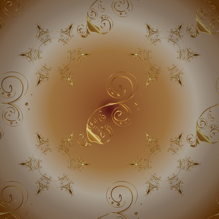 Damask seamless pattern repeating background. Golden element on beige, brown and neutral colors. Golden floral ornament in baroque style. Antique golden repeatable wallpaper.