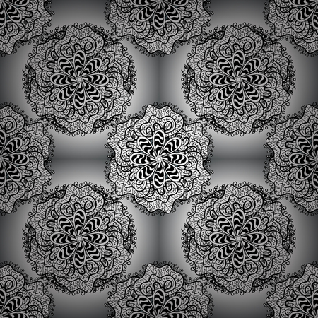 Seamless pattern with flowers. White, black and gray colors. Mandala vector floral flower oriental coloring book page outline template carpet.