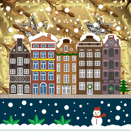Night vector Winter, Christmas urban landscape. Vector illustration. Banque d'images - 110774881