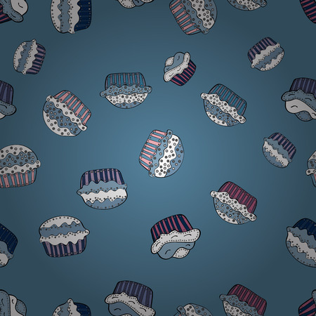 Nice birthday background on blue, white and black. Seamless pattern with cakes. Vector illustration. Wrapping paper.