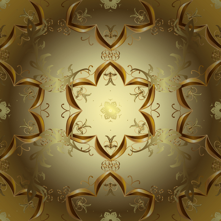 Ornamental oriental ornament in the style of baroque. Traditional classic golden vector pattern on brown, neutral and yellow colors with golden elements.
